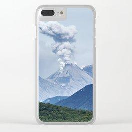 Beautiful summer volcanic landscape of Kamchatka - eruption active Zhupanovsky Volcano Clear iPhone Case