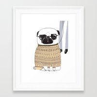 pug Framed Art Prints featuring Pug  by Phillippa Lola