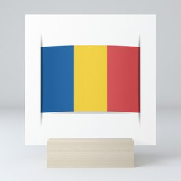 Flag of Chad, officially the Republic of Chad.  The slit in the paper with shadows. Mini Art Print