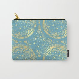 flower power: variations in aqua & gold Carry-All Pouch