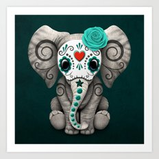 Teal Blue Day of the Dead Sugar Skull Baby Elephant Art Print