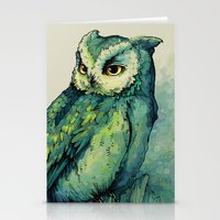 graphic Stationery Cards featuring Green Owl by Teagan White