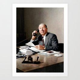 Sir Matt Busby on phone in colour Art Print