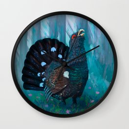 Capercaillie lek in spring Wall Clock