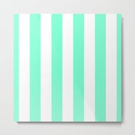 Aquamarine and White Vertical Cabana Tent Stripes Metal Print