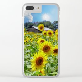 Bright Sunflowers Under Nice Skies Clear iPhone Case