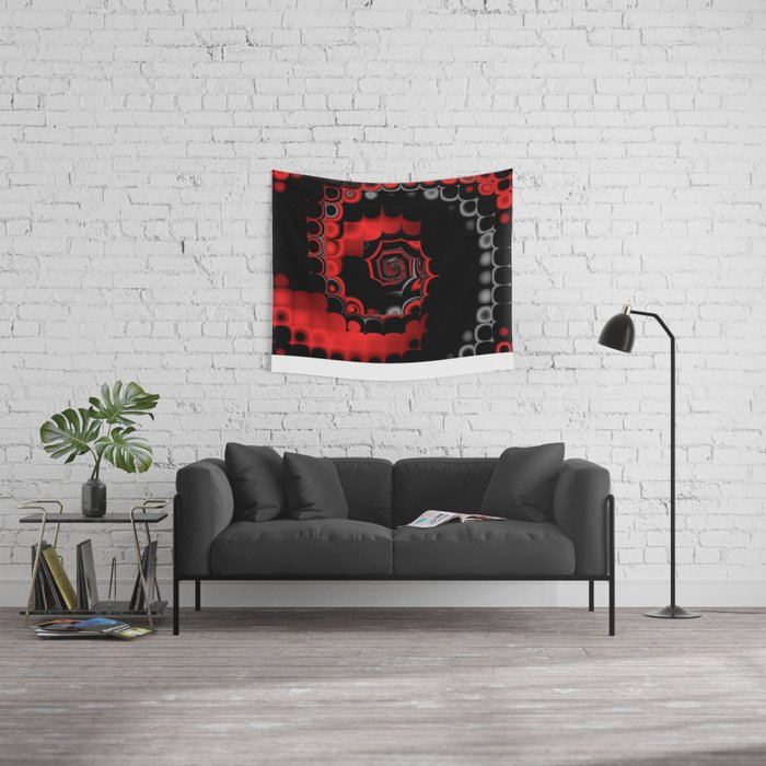 TGS Fractal Abstract in Red and Black Wall Tapestry