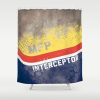 mad max Shower Curtains featuring Mad Max Interceptor MFP by Nxolab