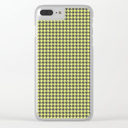 Yellow Grey Houndstooth Pattern Clear iPhone Case