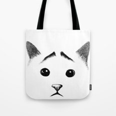 Cat with eyebrows Tote Bag