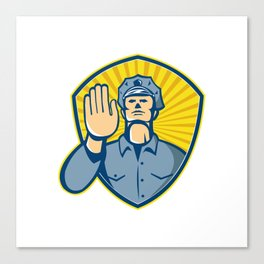 Policeman Police Officer Hand Stop Shield Canvas Print