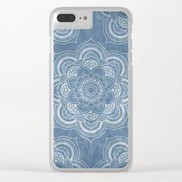 Cloudy Mandalas (Blue) Clear iPhone Case