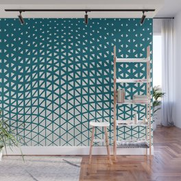 Off White Geometric Triangle Gradient Wave Pattern on Tropical Dark Teal Inspired by Sherwin Williams 2020 Trending Color Oceanside SW6496 Wall Mural