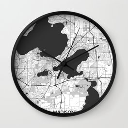 Madison Map Gray Wall Clock