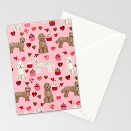 Labradoodle valentines day cupcakes hearts dog breed pet pattern labradoodles Stationery Cards