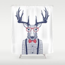 MR DEER WITH GLASSES Shower Curtain