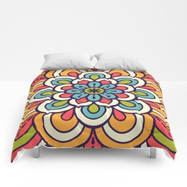 Mandala, Colorful Abstract Flower Comforters