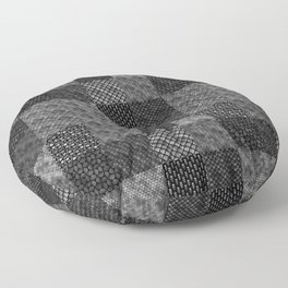 Silver and Black Vintage Art Deco Quilt Pattern Floor Pillow