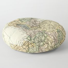 North England and Wales Vintage Map Floor Pillow