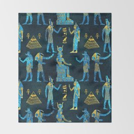 Egyptian  Gold and blue glass pattern Throw Blanket