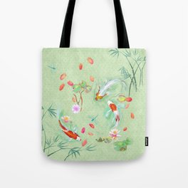 Watergarden with koi - green Tote Bag