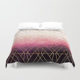 Pink Ombre Triangles Duvet Cover