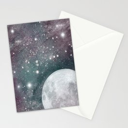Cosmic Blue and Purple Sky with Moon  Stationery Cards