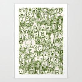 animal ABC green ivory Art Print