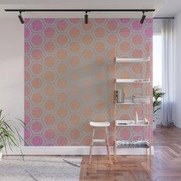 Hexagonal Dreams - Pink/Peach Gradient Wall Mural