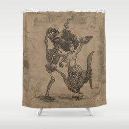 Dancing Mermaid and Skeleton Shower Curtain