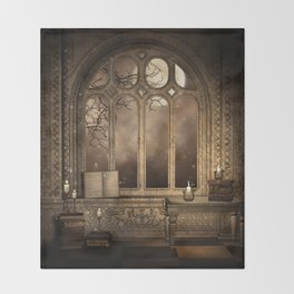Gothic Library Window Throw Blanket