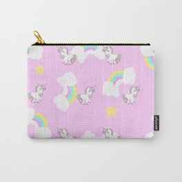 Unicorn rainbow,stars,pink background pattern Carry-All Pouch