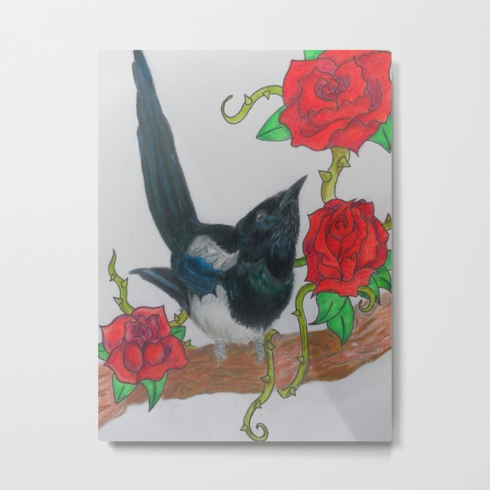 Magpie and Tattoo Roses Metal Print