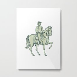 Cavalry Officer Riding Horse Etching Metal Print