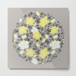 Floral pattern in grey and yellow colors Metal Print