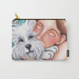 Sweet Coconut Original Art Schnauzer and girl Portrait Carry-All Pouch