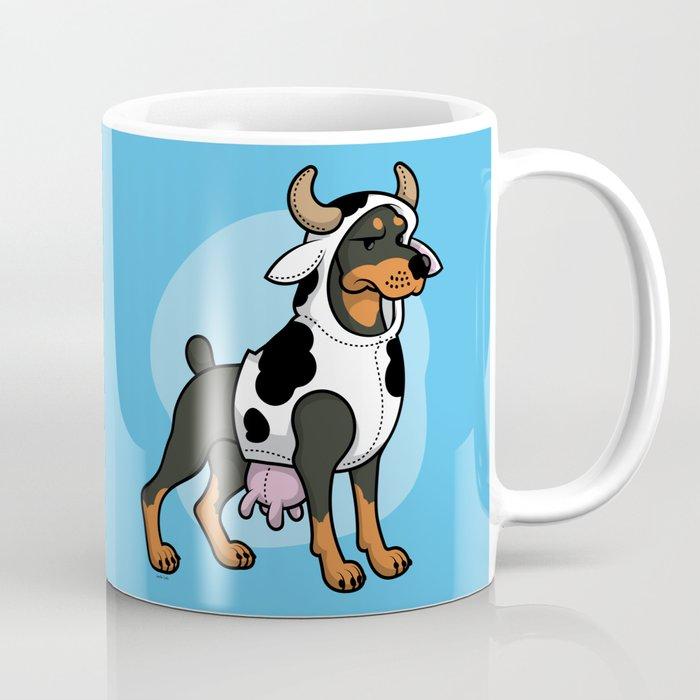 Doberman in a Cow Costume Coffee Mug
