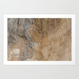 textured jute fabric for background and texture Art Print