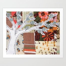 Spring Tree in a Patchwork Field Art Print