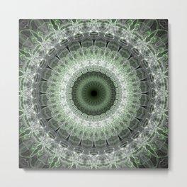 Mandala in green and gray tones Metal Print