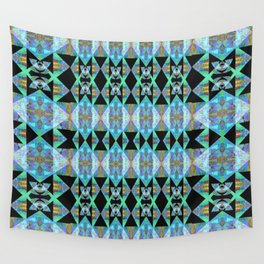 Electric Blue Green Diamond Geometric Power Print Wall Tapestry