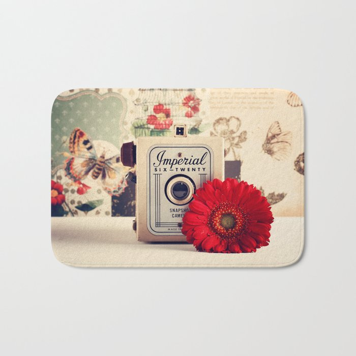 Retro Camera and Red Flower (Retro and Vintage Still Life Photography) Bath Mat