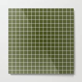 Army green - green color -  White Lines Grid Pattern Metal Print