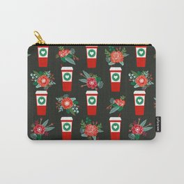 Peppermint Latte christmas coffee red cup floral kitchen cafe art print pattern Carry-All Pouch