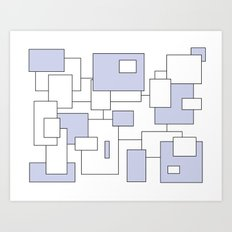 Squares - blue and white. Art Print