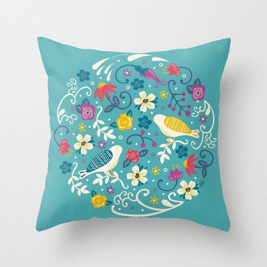 Garden Birds Throw Pillow