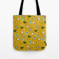 hiking Tote Bags featuring Hiking Pattern by DAW Surface Design
