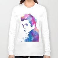 elvis presley Long Sleeve T-shirts featuring Elvis Presley by WatercolorGirlArt