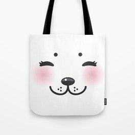 Kawaii funny albino animal white muzzle with pink cheeks and closed eyes Tote Bag