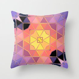 yellow pink violet black sqaure Throw Pillow